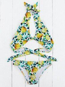 Fruit Print Keyhole Halter Bikini Set