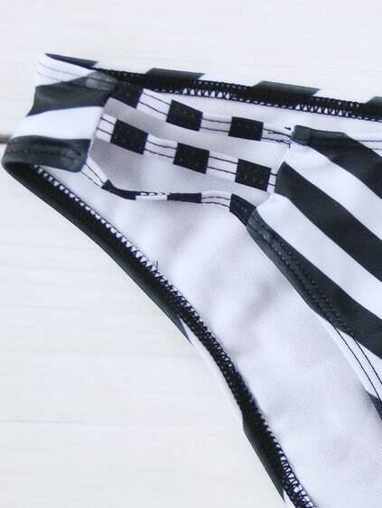 Chevron Print Ladder Cutout Bikini Set