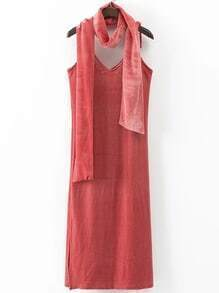Cami Straps Split Side Velvet Dress With Scarf