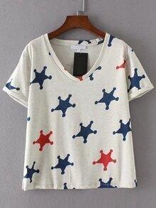 Camiseta de doblez escote V estampada de estrella