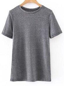 Camiseta de manga corta-plateado