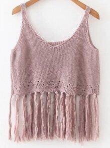 V-Neckline Fringe Hem Sweater Vest