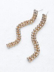 Rhinestone Design Drop Earrings