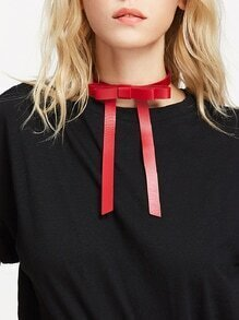 Bow Tie PU Choker Necklace