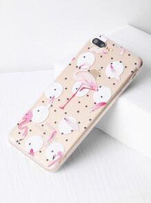 Funda para iPhone 7 Plus transparente de lunares con estampado de flamingo