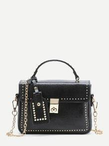 Studded Detail Shoulder Bag With Handle