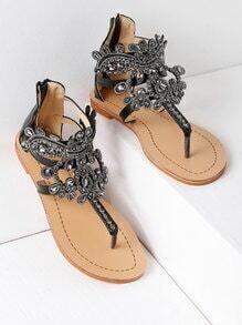 Sandalias planas con diseño de pedrería con tira en el dedo