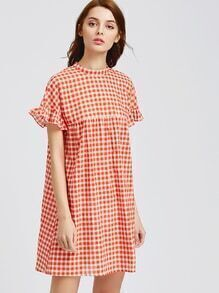 Orange Checkered Ruffle Sleeve Keyhole Tie Back Dress
