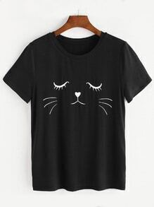 Black Cat Print Short Sleeve T-shirt