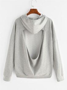 Heather Grey Open Back Drop Shoulder Hoodie