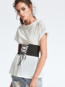 White Drop Shoulder Slub T-shirt With Lace Up Wide Belt