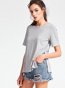 Heather Grey Side Slit T-shirt