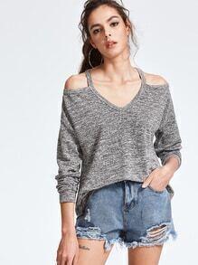 Grey Marled Knit Cold Shoulder High Low T-shirt