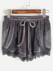 Grey Lace Trim Drawstring Waist Velvet Wrap Shorts