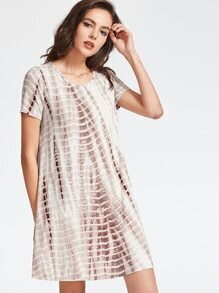Coffee Tie Dye Print Swing Tee Dress