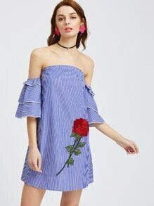 Blue Striped Ruffle Sleeve Off The Shoulder Dress