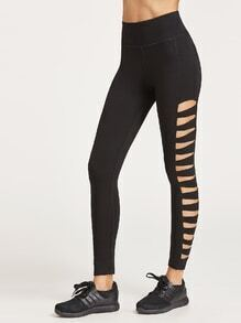 Black Ladder Cutout Wide Waistband Leggings