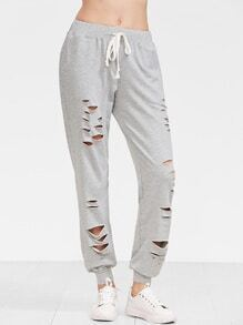 Heather Grey Distressed Drawstring Sweatpants