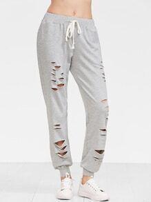 Grau modische Hose mit Schnitten kuliske