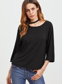 Black Asymmetric Cutout Halter Neck 3/4 Sleeve T-shirt