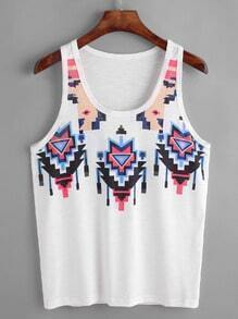 White Tribal Print Slub Tank Top