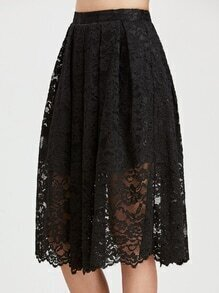 Black Floral Lace Overlay Box Pleated Skirt