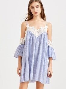Blue Striped Lace Trim Cold Shoulder Dress