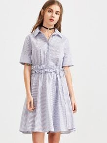Blue Striped Hidden Button Ruffle Waist Shirt Dress