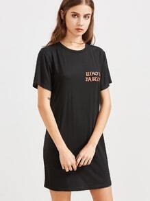 Black Letter Print Short Sleeve Tee Dress