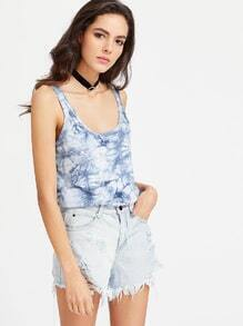 Navy Tie Dye Print Double Scoop Neck Tank Top