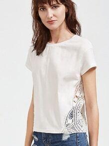 Camiseta de manga corta de croché insertado - blanco