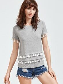 Heather Grey Tassel Trim Short Sleeve T-shirt