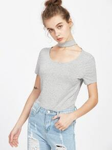Heather Grey Keyhole Back Short Sleeve T-shirt With Choker