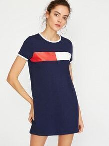 Navy Contrast Trim Printed Short Sleeve Tee Dress