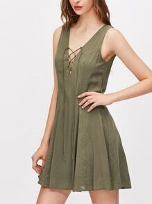 Olive Green Lace Up Plunge Neck V Back Swing Dress