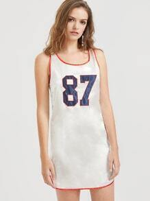 Ivory Embroidered Silky Basketball Tank Dress