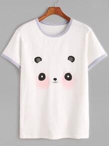 White Panda Print Ringer T-shirt