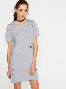 Heather Grey Short Sleeve Distressed Tee Dress