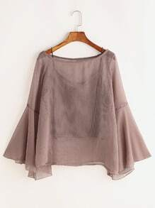 Fluted Sleeve Sheer Blouse With Cami Top