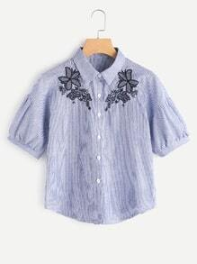 Vertical Pinstriped Floral Embroidered Blouse