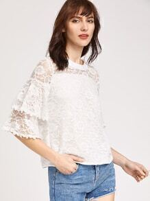 Frill Sleeve Split Back Lace Top