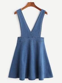 Cross Strap Denim Pinafore Dress