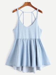 Strappy Back Detail Flare Denim Cami Dress