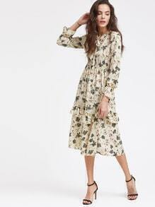 Ditsy Print Layered Fill Hem Elastic Waist Dress