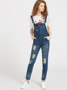 Destroyed Denim Dungarees