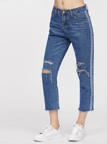 Knee Rip Frayed Cuffs Jeans