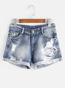 Graphic Print Rolled Cuffs Distressed Shorts
