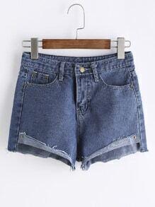 Asymmetric Raw Hem Denim Shorts