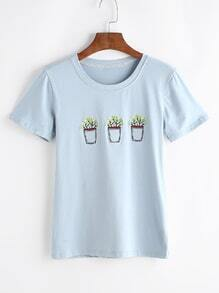 Potted Embroidered Tee