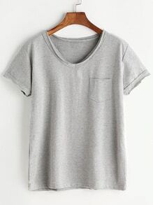 V-neckline Chest Pocket Tee